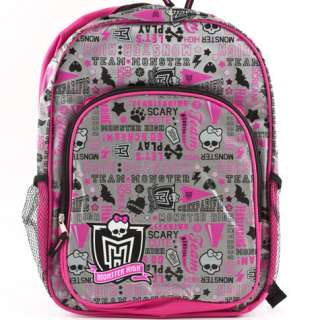 MONSTER HIGH School Spirit Backpack Full Size Bag   New With Tag