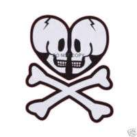 Heart Shaped Skull and Crossbones Nail Decal set of 20