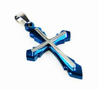 Steel Silver Gold Black Blue Crucifix Catholic Christian 2 Layer Cross
