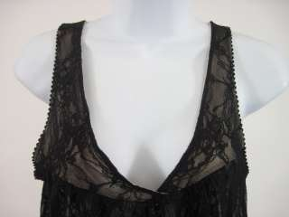 ONLY HEARTS Black Lace Sleeveless Tank Top Shirt Sz L