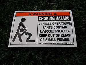 FUNNY CHOKING HAZARD WARNING DECAL CAR PART VINYL POLICE
