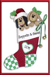 DOGS IN STOCKING COUPLES Personalized Christmas Ornament Polymer Clay