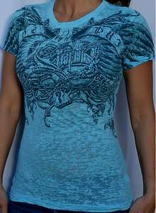Sinful by Affliction IVY Womans Short Sleeve Tee Shirt   S2107   Lt