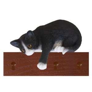 Tuxedo Black/White Loafer Cat Key Ring and Leash Holder