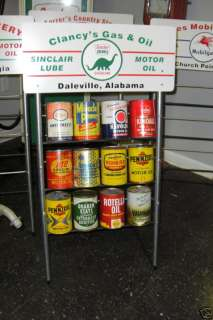SINCLAIR Gas Station Oil Can Rack Display for 12 Cans