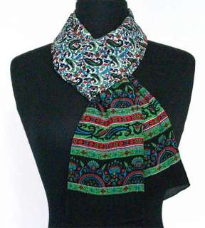 Hand Printed, Silk Scarf. 65 x 20 Inches. Black & Green