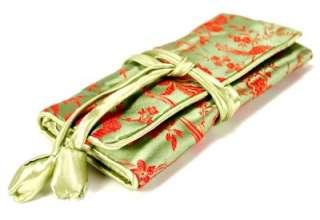 SILK JEWELRY TRAVEL BAG Roll Case Pouch Carrying Zipper Brocade Fabric
