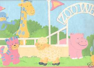 Cute ZOO ANIMAL Pink Blue Sale$6 Wallpaper Border 971