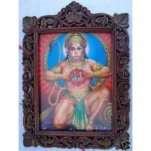Hanuman Showing Sita Ram in his Heart, Pic in Wood Frame