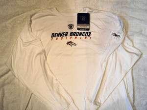 DENVER BRONCOS Logo NFL Reebok Sideline Equipment White Long Sleeve