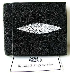 CLASSY BLACK GENUINE STINGRAY LEATHER MENS WALLET NEW