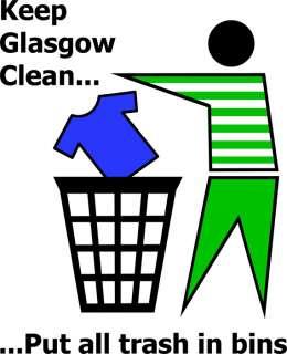 KEEP GLASGOW CLEAN funny football celtic t shirt S 6XL