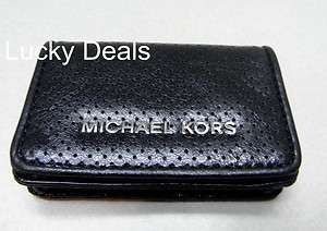 MICHAEL KORS ASHLAND credit CARD CASE BLACK leather coin purse