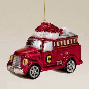 Pack of 6 Red Fire Engine Hand Blown Glass Christmas