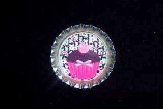 FANCY PINK CUPCAKES BOTTLE CAP CHARMS OR MAGNETS