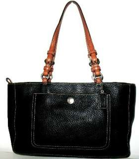 Coach Chelsea Black & Tan Pebbled Leather Tote Bag Purse Handbag 10892
