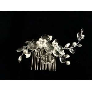 Side Comb Faceted Rhinestone Sparkly Flower and Pearl Wedding Hair