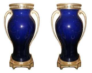 Pair Sevres Cobalt Blue Porcelain Bronze Mounted Vases