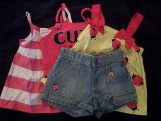 NWT Girls Gymboree Cape Code Cute ladybug tank top shirt & shorts ~ 2