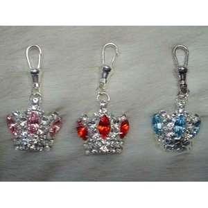 Mu Shu Swarovski Crystal Crown Charm Blue and Clear
