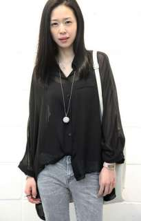 Womens Asym Hem Sheer Batwing Collared Blouse Shirt Top Chiffon 3