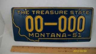 Vintage 1951 Montana Sample License Plate   Prison Made