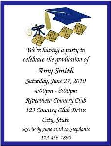 Personalized Graduation/Commencement Party Invitations