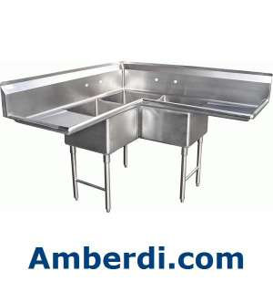 Compartment Corner Stainless Steel Sink 18x18 NSF