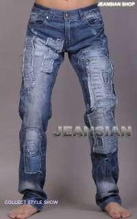 3mu Mens Designer Jeans Pant Denim Stylish Destroyed Washed W30 32 34
