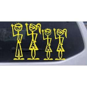 Yellow 18in X 12.0in    Cool Waving 2 Kids Stick Family Stick Family