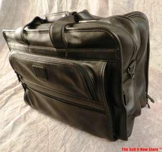 TUMI Black Leather 17 Laptop Bag Briefcase Attache Tote Case NO