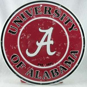 12 ROUND NOVELTY METAL SIGN ALABAMA CRIMSON TIDE ROLL TIDE BAMA