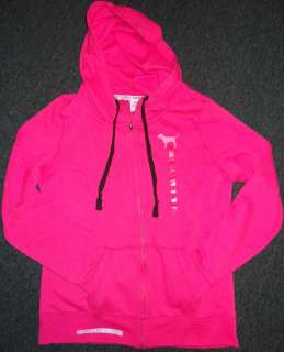 Victoria Secret PINK Zip Up Love Script Funnel Neck Hoodie S M L