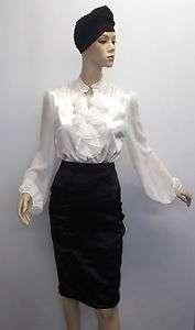 Ivory White Liquid Satin Chiffon Secretary Governess Ruffle Shirt