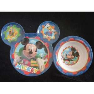 Disneys Mickey Mouse Bowl & Ear shaped Plate