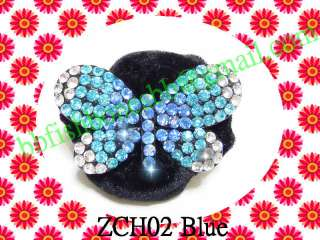 1pc Rhinestone Black Crystal Hair Ponytail Holders Crown Butterfly