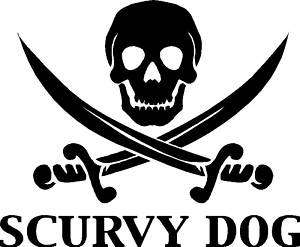 Scurvy Dog Pirate Skull Sticker,Decal, Graphic