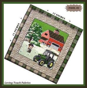 TRACTOR FARM BARN WATER WELL COWS FABRIC PANEL 17 X 17 D
