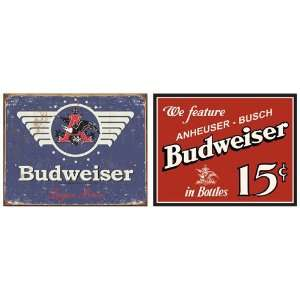 Budweiser Beer in Meal Sign Bundle   2 rero signs Budweiser Beer