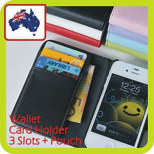 iphone 4 4S Credit Card HOLDER + POUCH WALLET LEATHER FLIP Case Cover