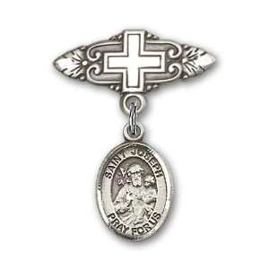 St. Joseph Charm and Badge Pin with Cross St. Joseph is the Patron