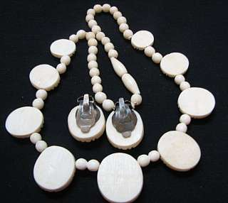 VINTAGE HD CARVED faux IVORY SCARAB NECKLACE & EARRINGS