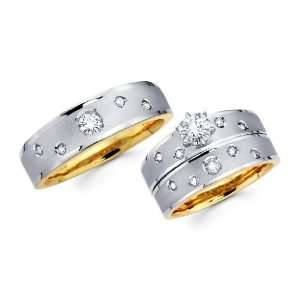 14K Yellow and White 2 Tone Gold Round cut Diamond Men and