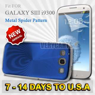 Metal Hard Case Cover For SAMSUNG GALAXY S3 I9300 + Film Blue