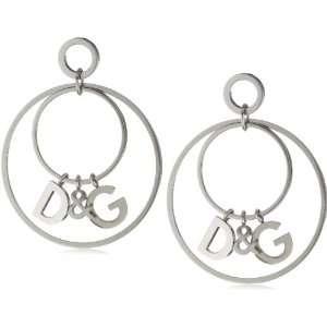 D&G Womens Stainless Steel Charm Hoop Earrings Jewelry