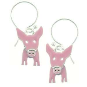 Pink Pig Dangle Sterling Silver Earrings