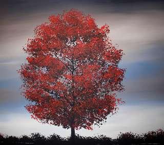 Original Modern Stunning Red Tree Lake Reflection DROB