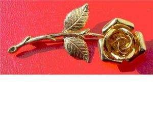 Vintage signed MONET gold tone rose pin / brooch