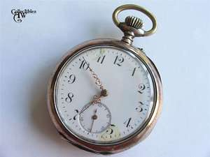 Antique Solid SILVER Cylinder Pocket Watch, Erika, 15 Rubis