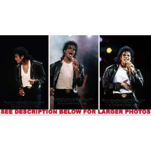 MICHAEL JACKSON BAD TOUR BLACK LEATHER (3) RARE 8x10 FINE